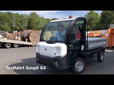 Testfahrt vom Elektrotransporter Goupil G4