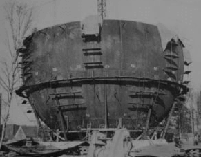 Bau des Gaskugelbehälters in Ohligs (1956/1957), Quelle: Stadtwerke Solingen