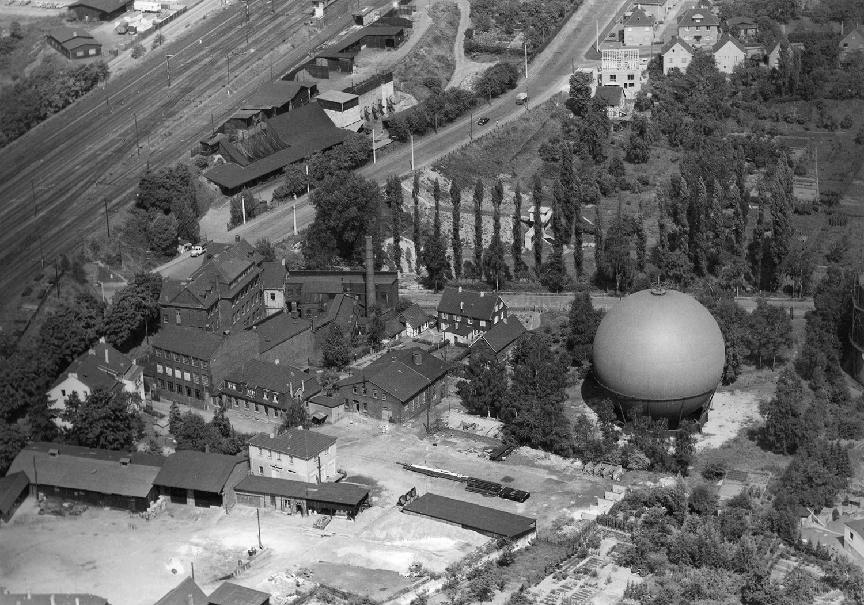 Gaswerk Ohligs mit Gaskugel, 1959, Quelle: Stadtarchiv Solingen