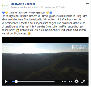 Solingen-Film: Ankündigung bei Facebook
