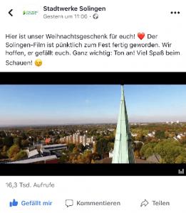 Solingen-Film: Anzahl der Aufrufe bei Facebook (Screenshot)