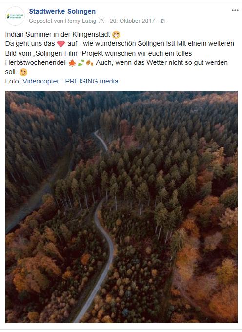Solingen-Film: Post zum Zwischenstand bei Facebook (Screenshot)