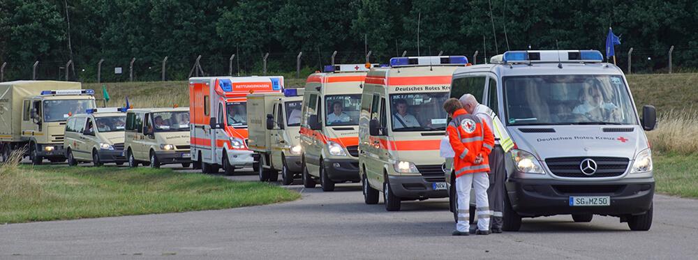 Ankunft Marschverband DRK Solingen bei Großübung