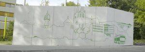 Graffiti-Wand der Stadtwerke Solingen mit Solinger Skyline in der Beethovenstraße