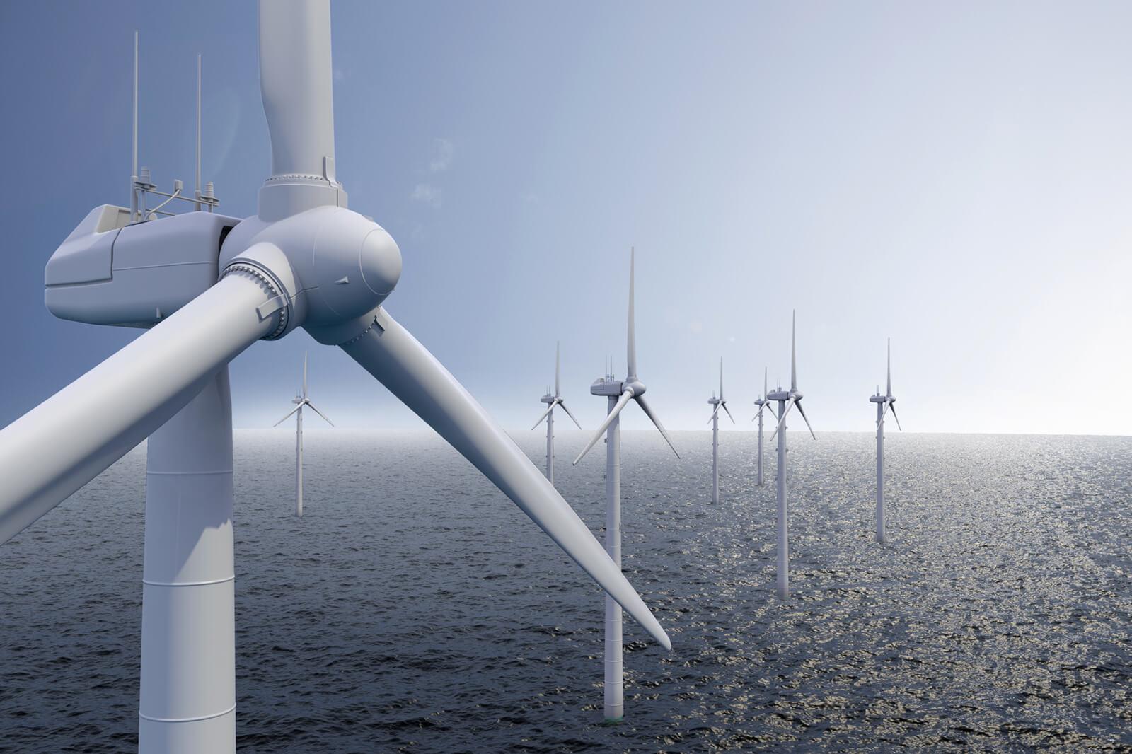 Windkraft-Anlage im Meer