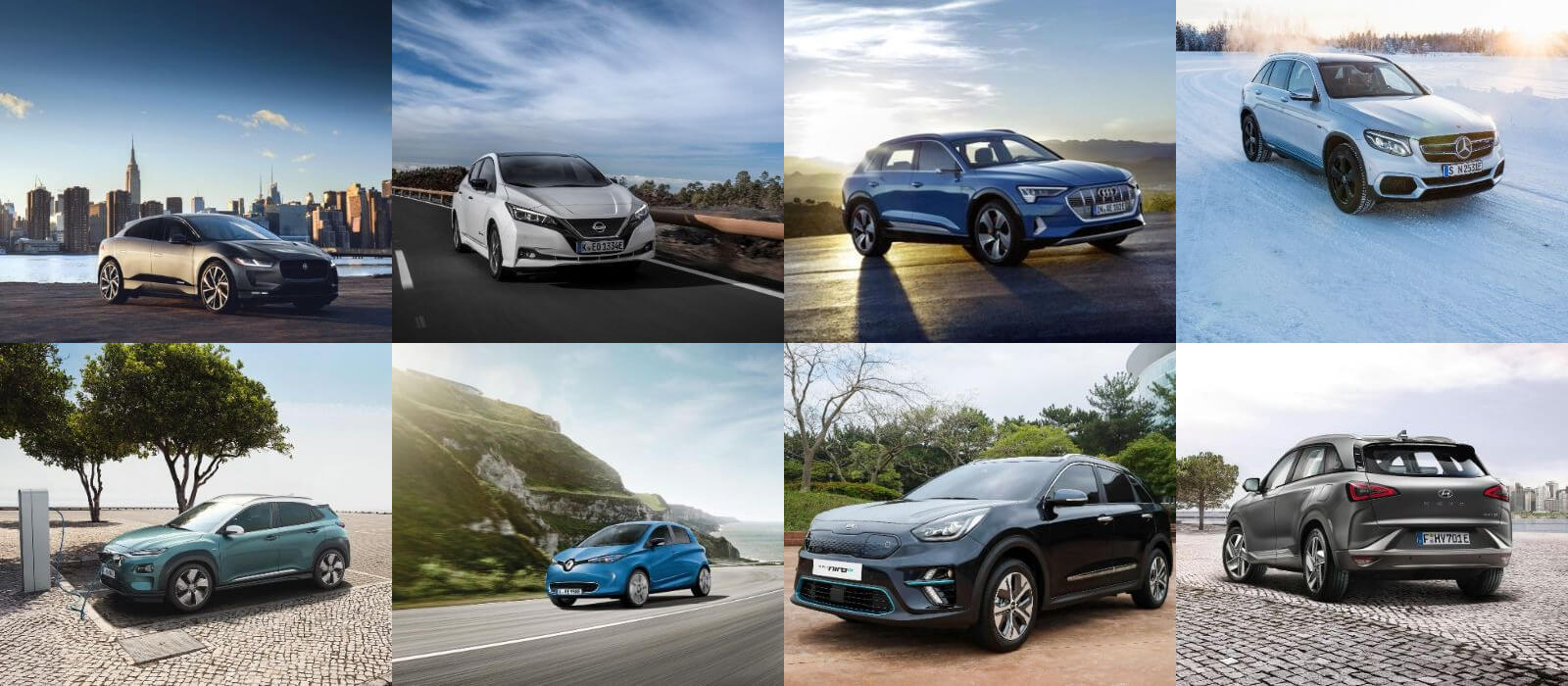 Neue Elektroautos in 2018 (Collage)