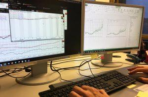 Strom einkaufen - Preise als Charts auf Monitoren