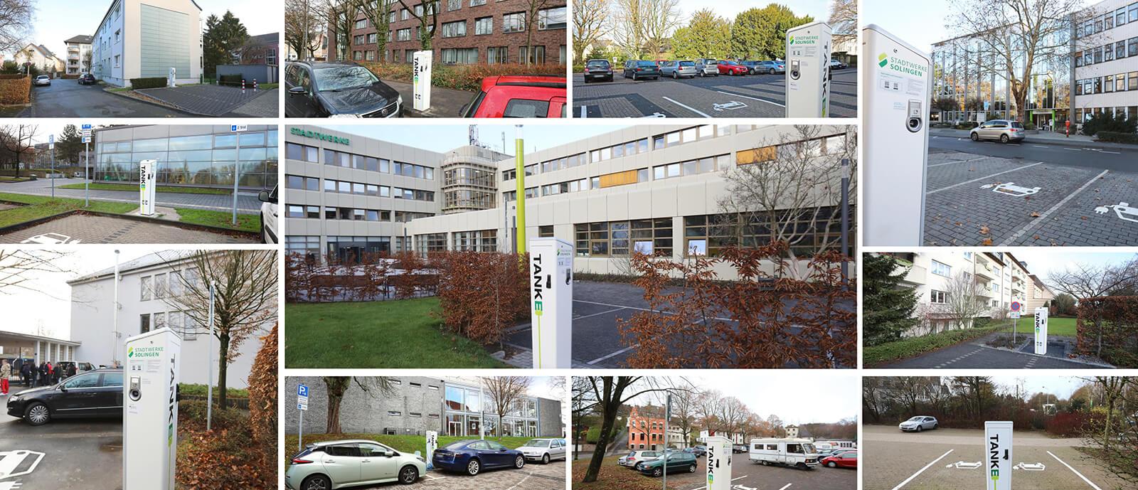 Ladesäulen in Solingen (Collage, Stand: Dezember 2018)