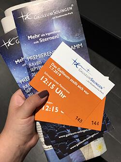 Tickets zur Eröffnung vom Galileum Solingen