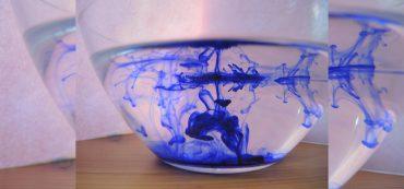 Tinte in Schale mit Wasser