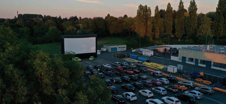 Stadtwerke-Autokino 2020 von der Drohne aus fotografiert.