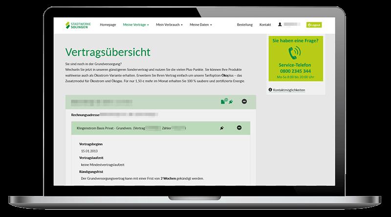 Vertrags- und Daten-Center im Online-Portal der Stadtwerke Solingen