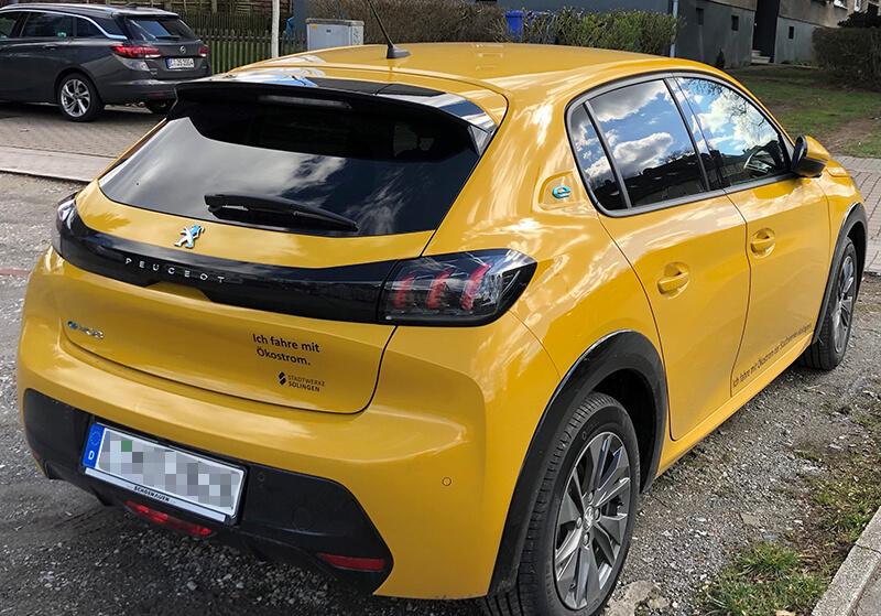 E-Auto-Beklebung 'Klingen Plus' (Förderung der Stadtwerke Solingen)